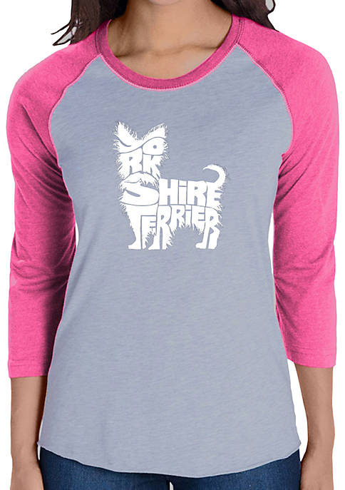 Raglan Baseball Word Art T-Shirt - Yorkie