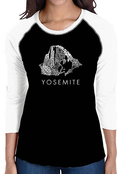 Raglan Baseball Word Art T-Shirt - Yosemite