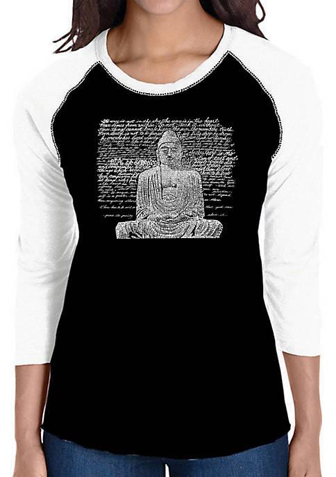 Raglan Baseball Word Art T-Shirt - Zen Buddha