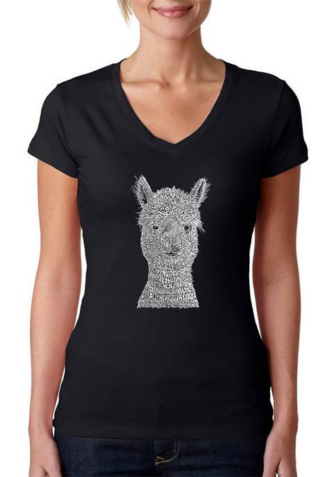 Womens Word Art V-Neck Graphic T-Shirt - Alpaca