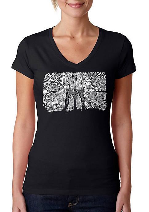 Word Art V-Neck T-Shirt - Brooklyn Bridge