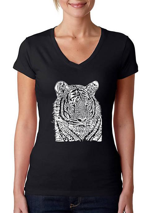 Word Art V-Neck T-Shirt - Big Cats