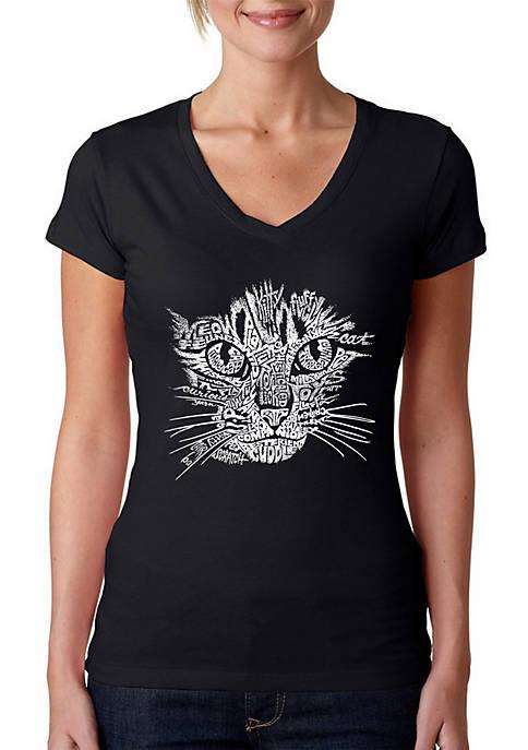 Word Art V-Neck T-Shirt - Cat Face