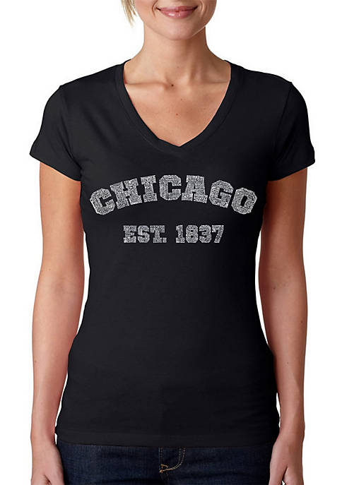 Word Art V-Neck T-Shirt - Chicago 1837