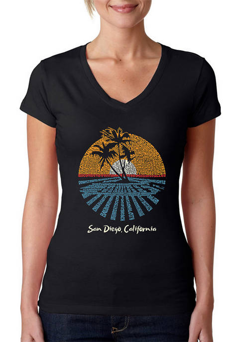 Womens Word Art V-Neck Graphic T-Shirt - Cities in San Diego