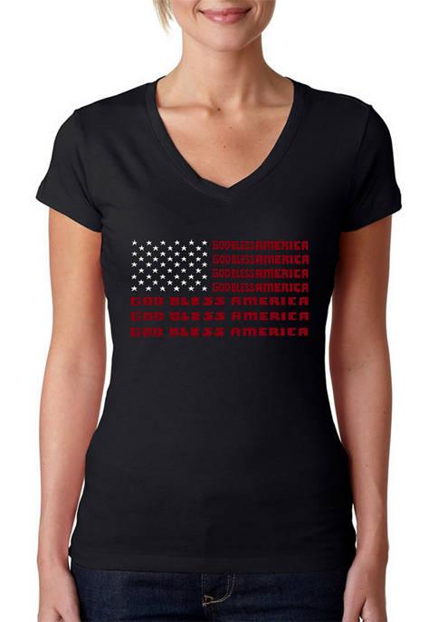Womens Word Art V-Neck T-Shirt - God Bless America
