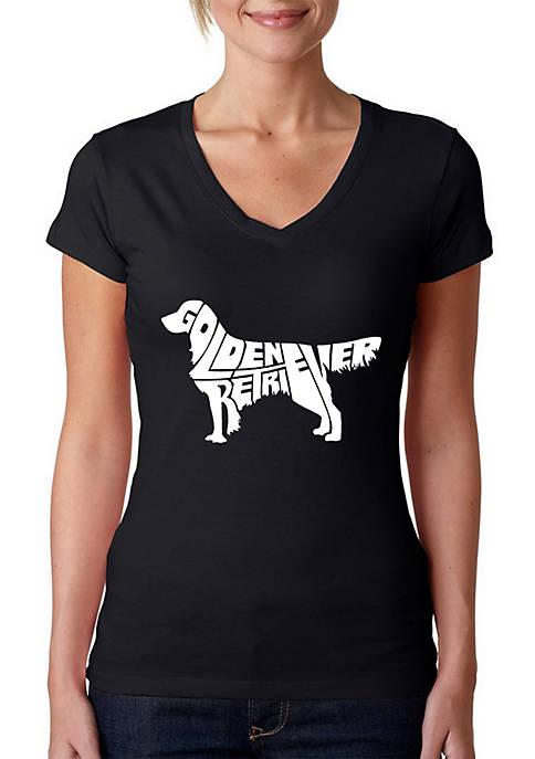 Word Art V-Neck T-Shirt - Golden Retriever
