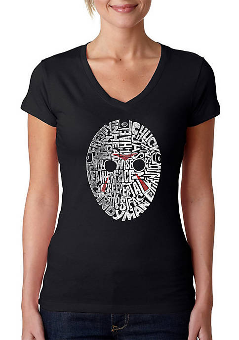 Word Art V-Neck T-Shirt - Slasher Movie Villains