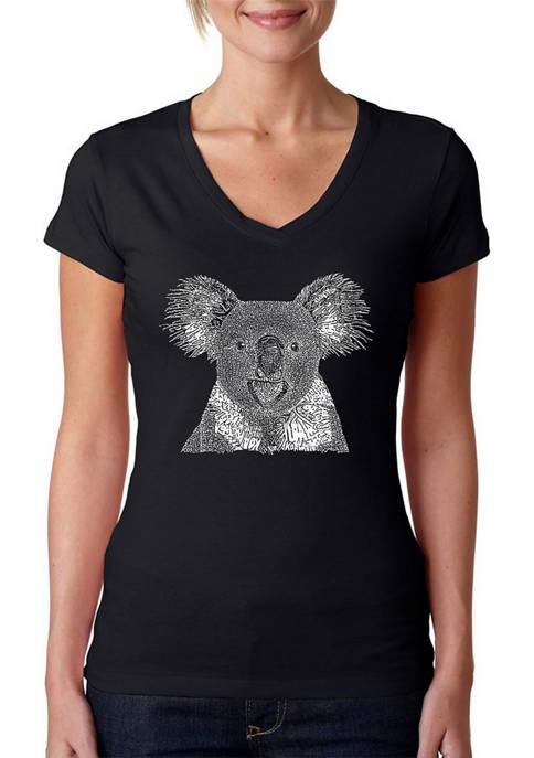 Womens Word Art V-Neck T-Shirt - Koala
