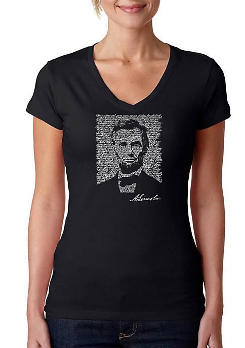 Word Art V-Neck T-Shirt - Abraham Lincoln - Gettysburg Address
