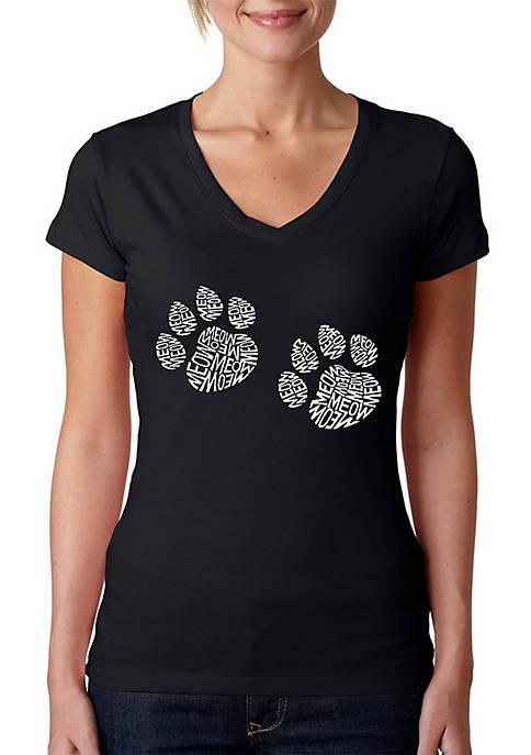 Word Art V-Neck T-Shirt - Meow Cat Prints