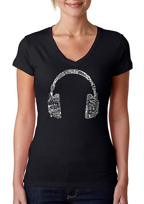 Word Art V-Neck T-Shirt - Headphones - Languages