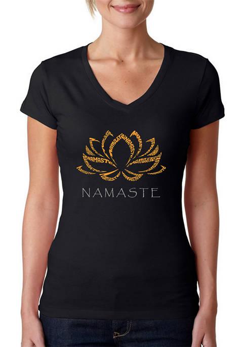 Womens Word Art V-Neck Graphic T-Shirt - Namaste