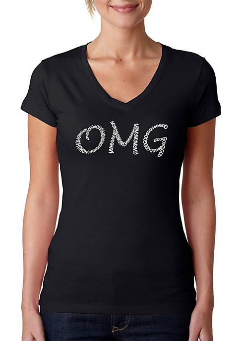 Word Art V-Neck T-Shirt - OMG
