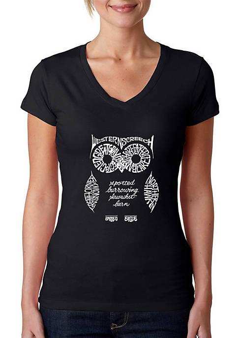 Word Art V-Neck T-Shirt - Owl