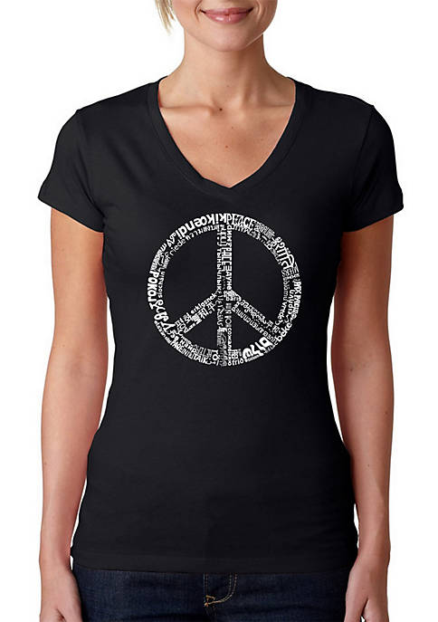 Word Art V-Neck T-Shirt - The Word Peace in 77 Languages