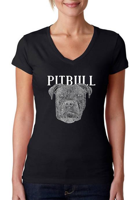 Womens Word Art V-Neck T-Shirt - Pitbull Face