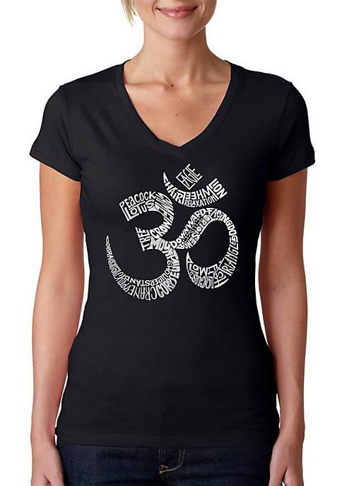 Word Art V-Neck T-Shirt - Poses Om