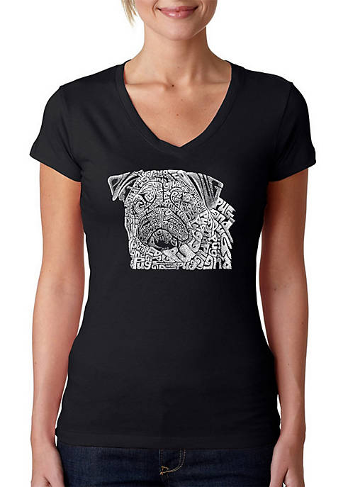 LA Pop Art Word Art V-Neck T-Shirt