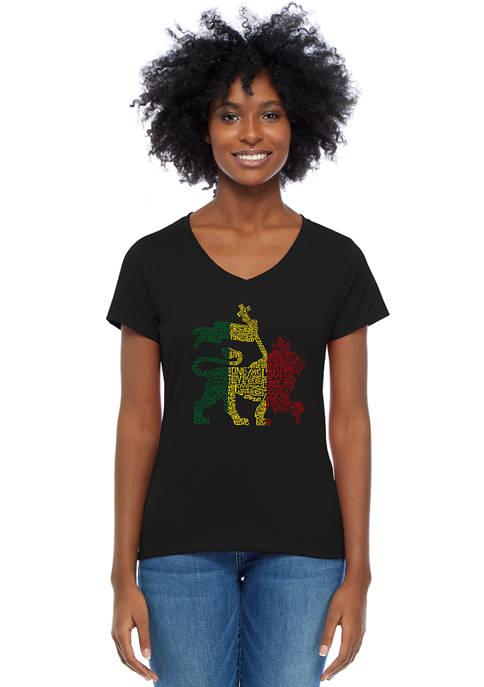 Word Art V-Neck T-Shirt - Rasta Lion - One Love