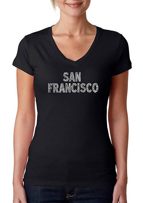 Word Art V-Neck T-Shirt - San Francisco Neighborhoods