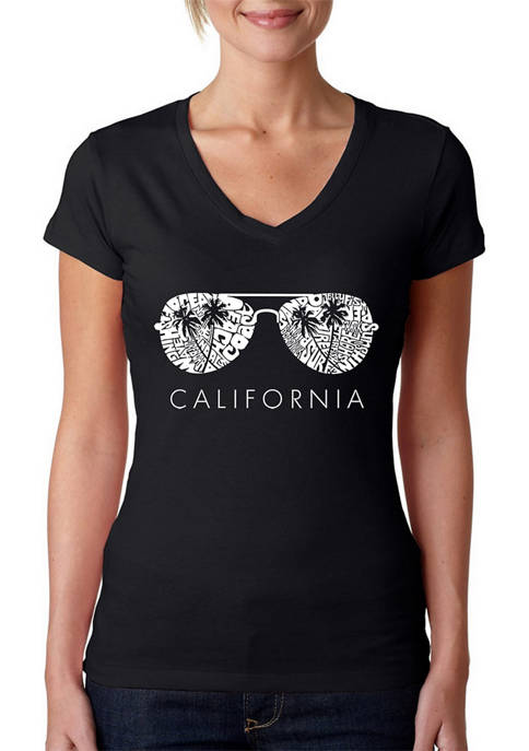Womens Word Art V-Neck Graphic T-Shirt - California Shades
