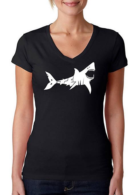 Word Art V-Neck T-Shirt - Bite Me