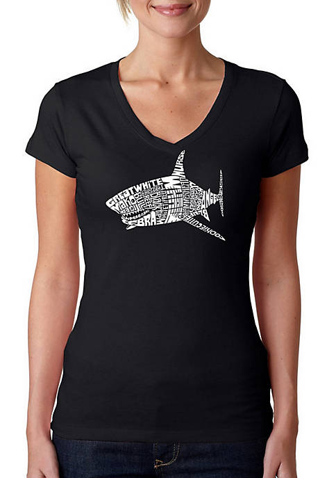 Word Art V-Neck T-Shirt - Species of Shark