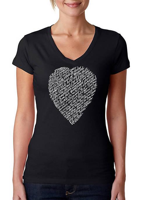 Word Art V-Neck T-Shirt - William Shakespeares Sonnet 18