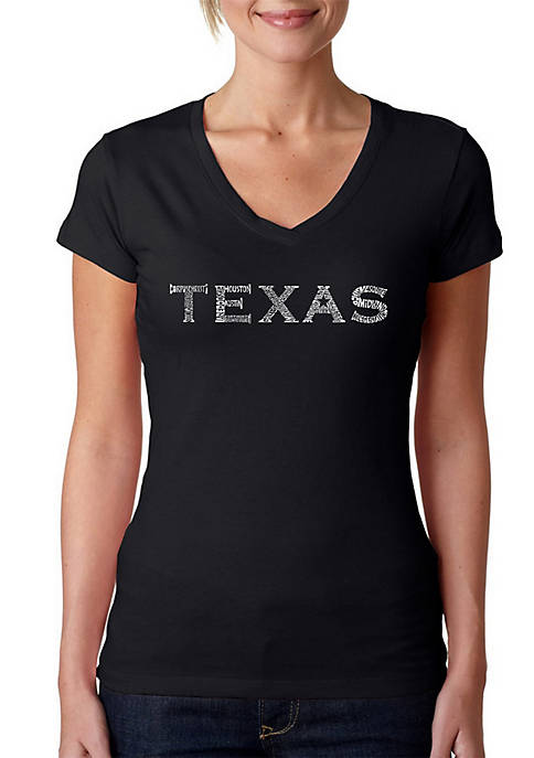 Word Art V-Neck T-Shirt - The Great Cities of Texas