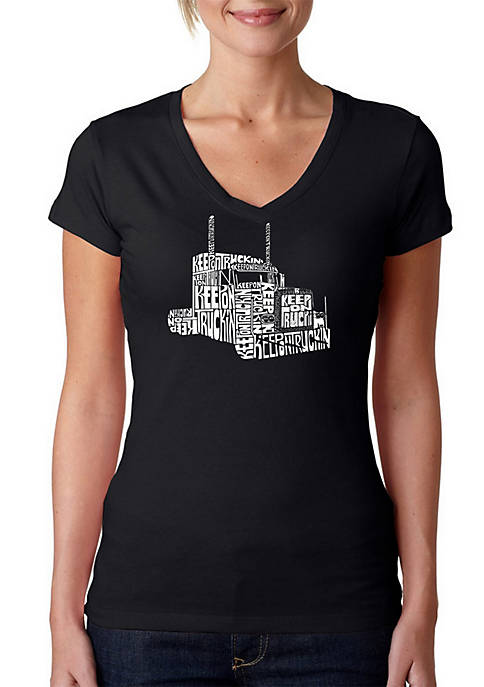 Word Art V-Neck T-Shirt - Keep On Truckin