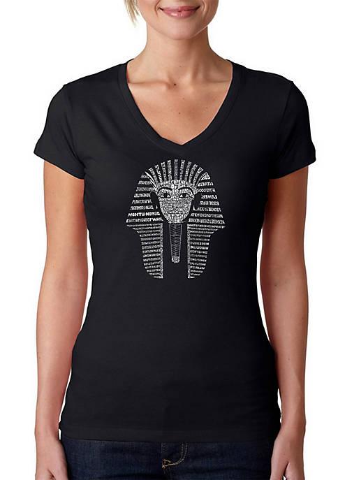Word Art V-Neck T-Shirt - King Tut