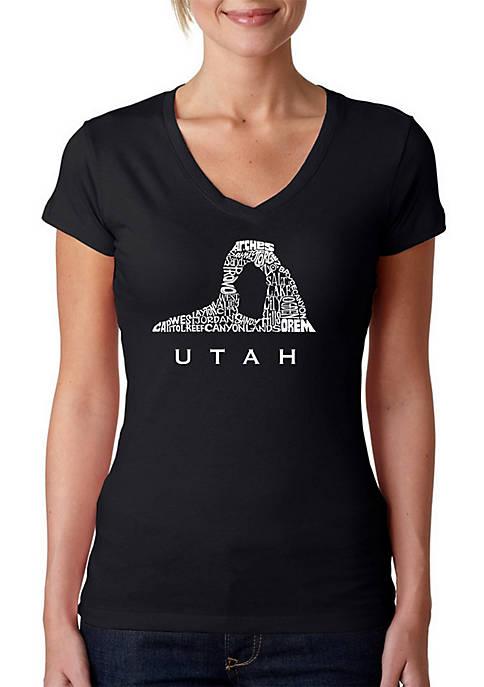 Word Art V-Neck T-Shirt - Utah