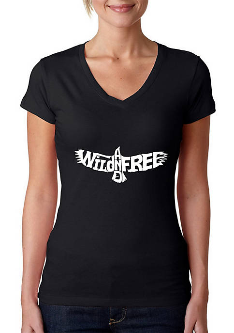 Word Art V-Neck T-Shirt - Wild and Free Eagle