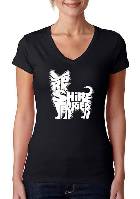 Word Art V-Neck T-Shirt - Yorkie