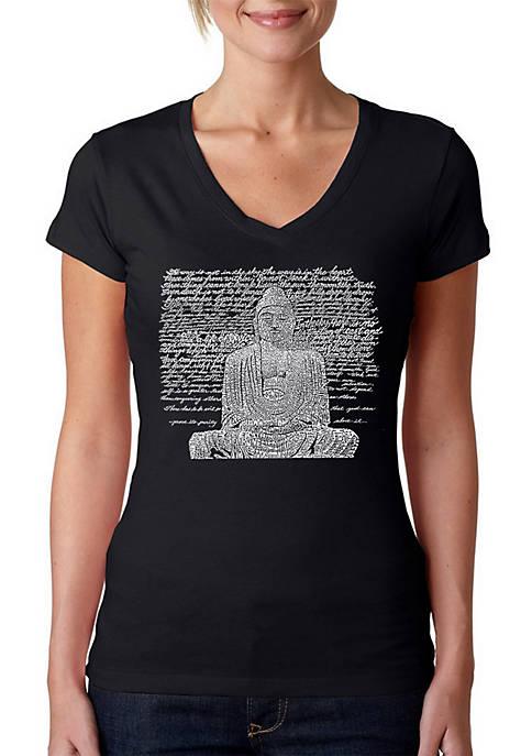 Word Art V-Neck T-Shirt - Zen Buddha