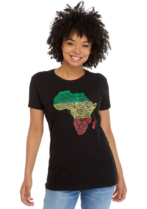 Womens Word Art T-Shirt - Countries in Africa