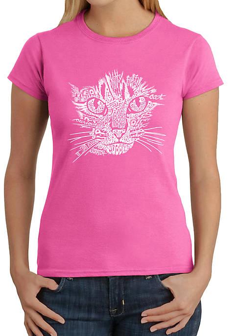 LA Pop Art Word Art T-Shirt- Cat Face