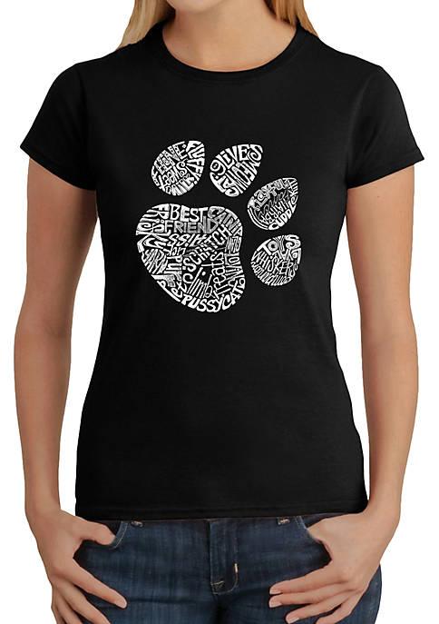 Word Art T-Shirt - Cat Paw