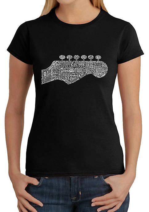 LA Pop Art Word Art T-Shirt- Guitar Head