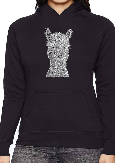 Womens Word Art Hooded Sweatshirt -Alpaca