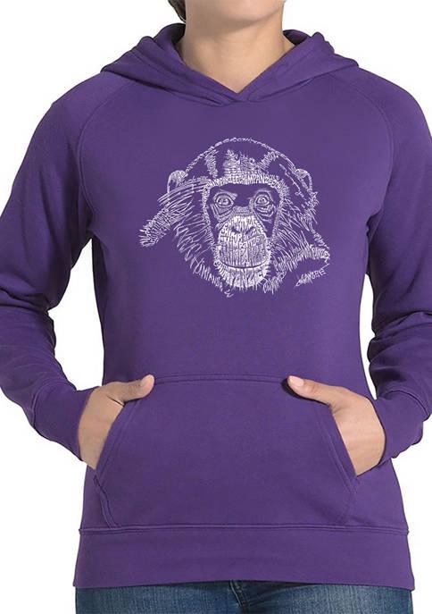 Womens Word Art Hooded Sweatshirt -Chimpanzee