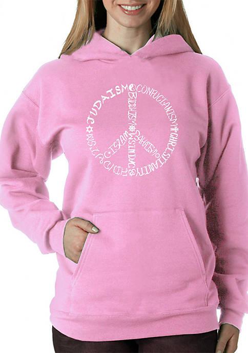 Word Art Hooded Sweatshirt - Different Faiths Peace Sign