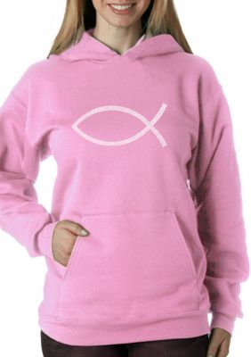 La Pop Art Womens Word Art Hooded Sweatshirt - Jesus Fish