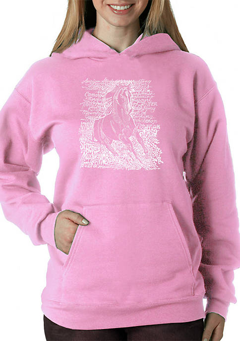 Word Art Hooded Sweatshirt - Popular Horse Breeds