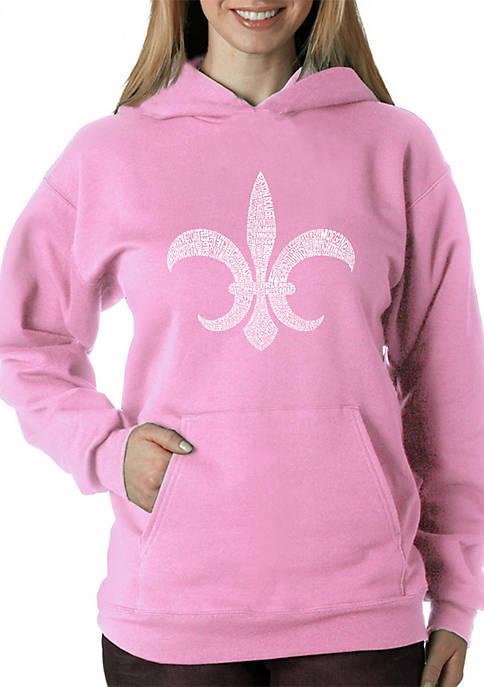 Word Art Hooded Sweatshirt- Fleur De Lis- Popular Louisiana Cities