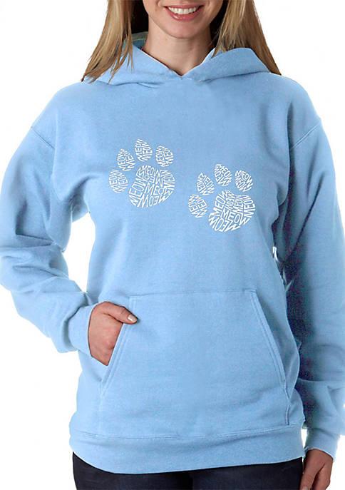 Word Art Hooded Sweatshirt - Meow Cat Prints