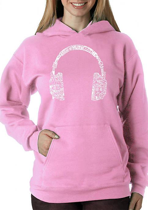 Word Art Hooded Sweatshirt - Headphones - Languages