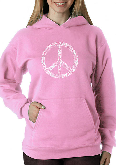 Word Art Hooded Sweatshirt - The Word Peace in 77 Languages