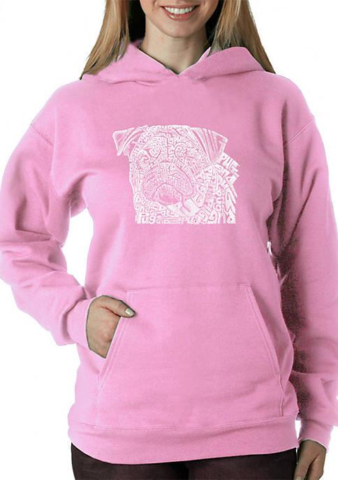Word Art Hooded Sweatshirt - Pug Face